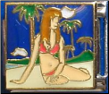 Beach Girl with palms