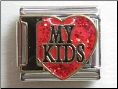 I love my Kids   Red Glitter 9 mm Italian charm