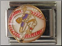 Baseball with Player   White 9 mm Italian charm
