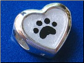 Dog Paw in Heart European style Bead Silver