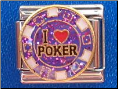 I love Poker   chip   Purple glitter