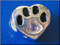 Bead  Sterling Dog Paw w/February birthstone