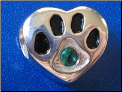 Bead   Sterling Dog Paw w/May birthstone