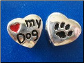 Bead   I love my Dog w/paw    Sterling Silver