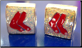 Christmas Red Socks Sox Stockings Silver Hand Painted bead