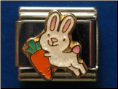 Smiling Bunny with carrot  -  9 mm Italian charm