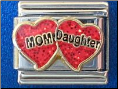 Mom Daughter Red 9 mm Italian charm
