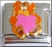 Bear with Pink Heart Italian Charm