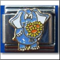 Blue Elephant with flowers Italian Charm