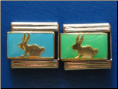 Blue or Green Bunny -  9 mm Italian charm
