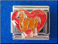 I love horses red glitter heart