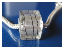 Silver Threads Glass Cube Bead