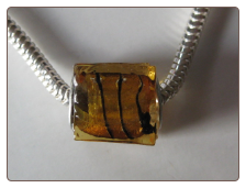 Amber Stripes Glass Cube Bead