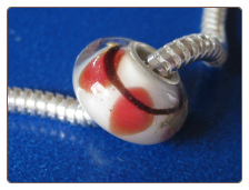 Red on White Glass Bead