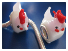 White & Pink Chicken Glass Bead