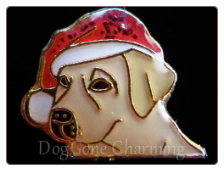 Lab Yellow Dog Santa Hat Floating Locket Charm