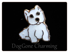 Westie White Sitting Dog  Floating Locket Charm