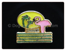 Pink Flamingo Palm Tree  Floating Locket Charm