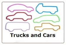 Trucks and Cars 12 Classic Silly Bandz