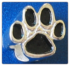 Black Paw Bead   Hand painted