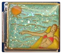 Pool Time! Girl on Raft Blue Glitter