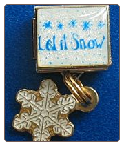 Let it Snow w/dangle snowflake   White