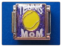Tennis Mom   Purple Glitter 9 mm Italian charm