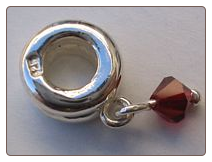 Garnet dangle (Jan)   Sterling Bead