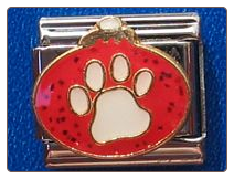 Red ornament with dog paw
