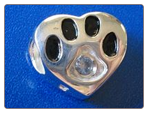 Bead   Sterling Dog Paw w/March birthstone
