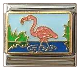 Pink Flamingo in Water (Blue)  Italian Charm